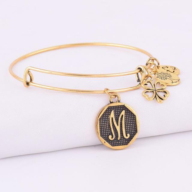 Gold Initial Letter Charm Bracelet