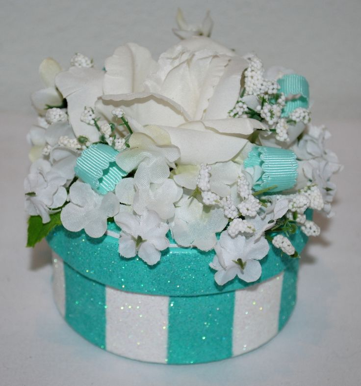 Beautiful stripes, flowers and ribbons decorate this GIFT BOX/Cake Topper.What a PERFECT way to give an engagement ring and then have the decorated box as a wonderful keepsake for all time!! #decoratedgiftboxes #handmadegiftboxes #decoratedboxes