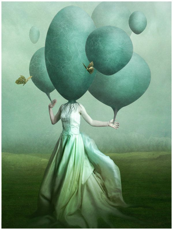 Head in the clouds, Miruna Ivanescu: Clouds, Artists, Photomanipulation, Photos Manipulation, Green, Tiffany Blue, Aqua, Wings Of Dust, Blue Art