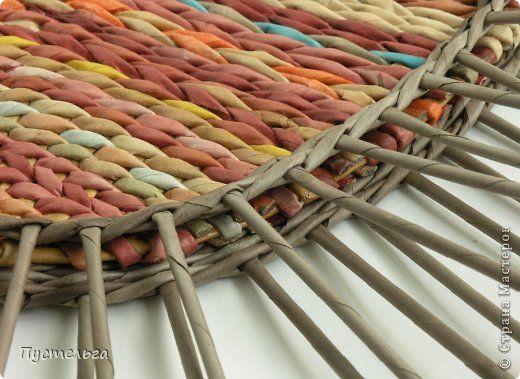Мастер-класс Поделка изделие Плетение Поднос или утилизация трубочек Бумага газетная Трубочки бумажные фото 9