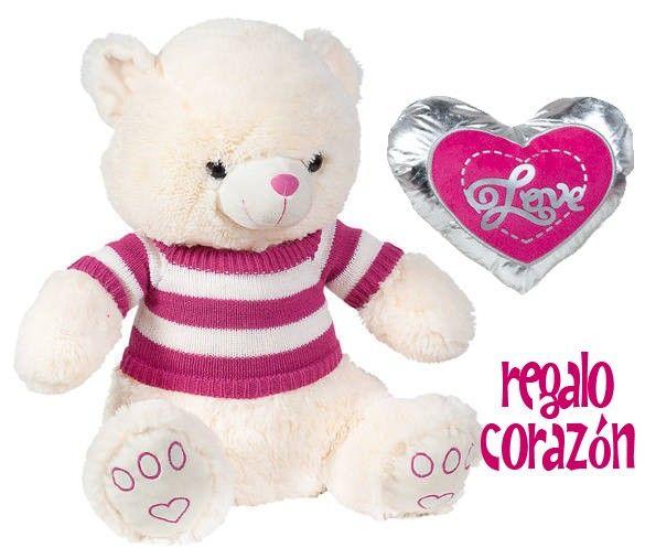 Regalo Corazón 23 cm. por la compra de este Osito de Peluche. Tamaño del Oso: 45 cm. Aprovecha esta oferta especial para San Valentín, un regalo ideal para el día de los enamorados. Se puede envolver para regalo y añadir un mensaje personalizado. por sólo 23,95 € iva inc.