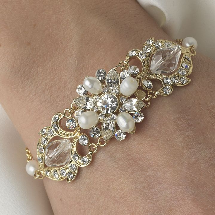 Affordable Elegance Bridal - Gold Crystal and Freshwater Pearl Bridal Bracelet - sale!, $41.99 (http://www.affordableelegancebridal.com/gold-crystal-and-freshwater-pearl-bridal-bracelet-sale/)