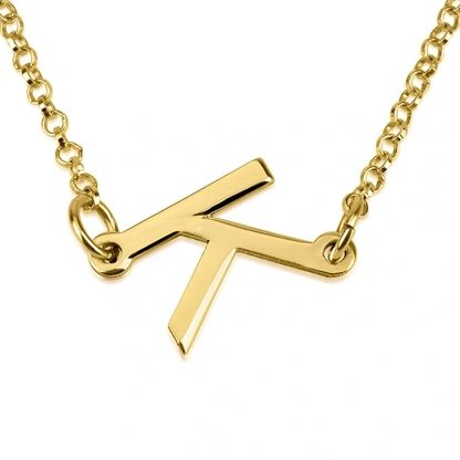 There's nothing askew about this refined yet modern 24K gold plated slanted initial necklace. A great personalized gift for friends, family & loved ones