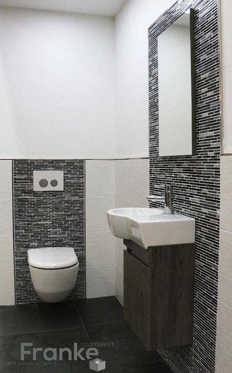 Kleine Gäste WC Lösung weiße Wandfliese TopCollection Minos