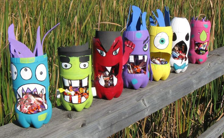 Create these colorful monsters with a recycled soda bottle!