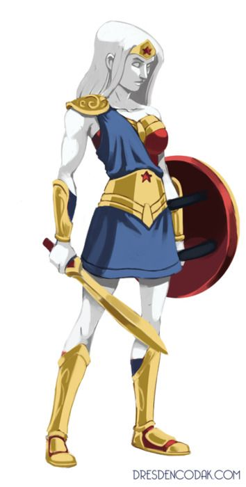 I love this alternate version of Wonder Woman-- as a marble statue with a much stronger Greek influence