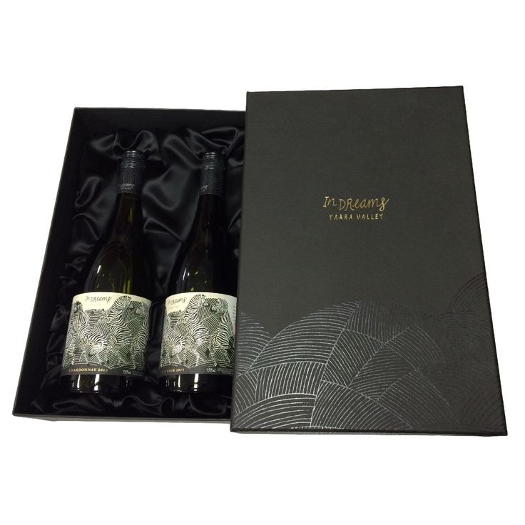 Wine Presentation Box for 2 Bottles with Lid & Silk Insert - produced by Duncan Packaging
