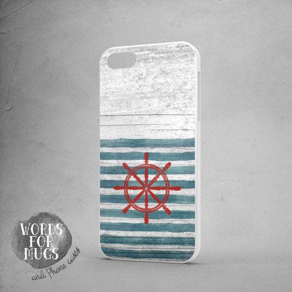 iPhone 6 plus case nautical vintage helm stripes blue white wood print by DeWadaSTORE