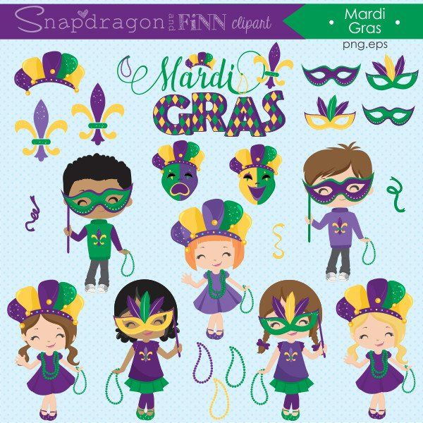 Mardi Gras Clipart & Papers