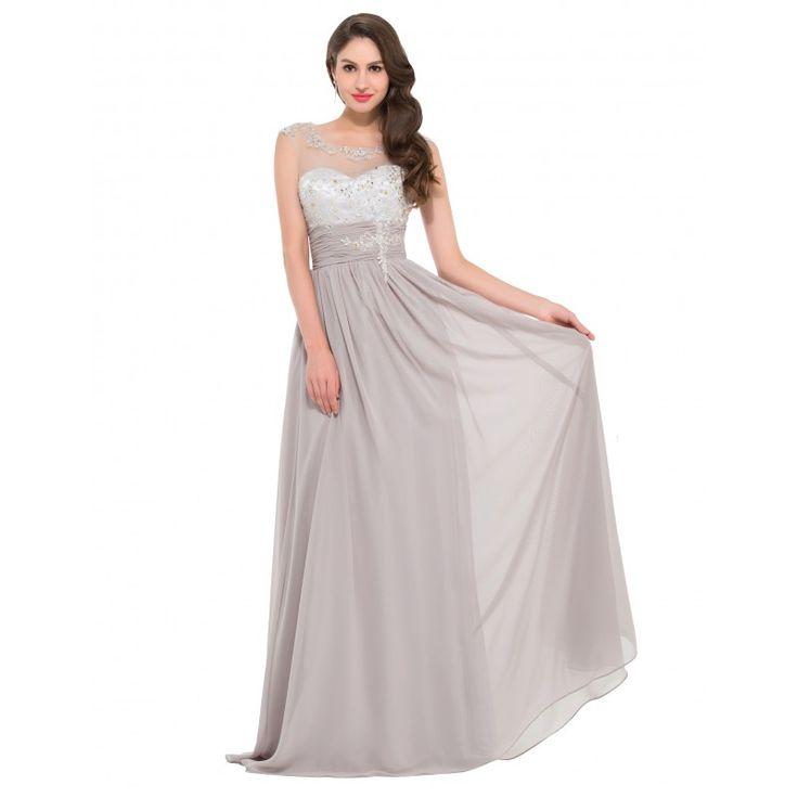 Sivé spoločenské šaty CL4473