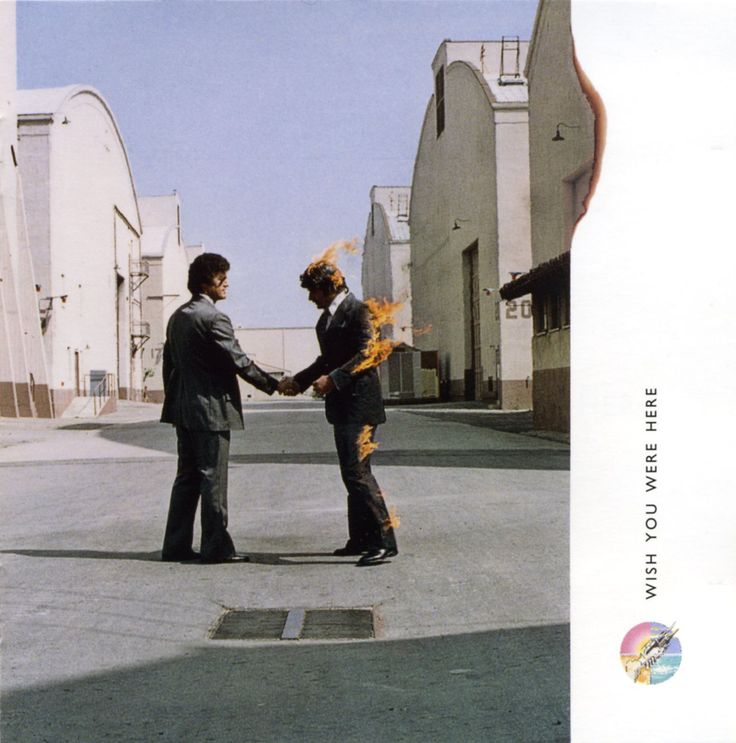 Pink Floyd album cover by Storm Thorgerson & Hipgnosis (Wish You Were Here, 1975).
