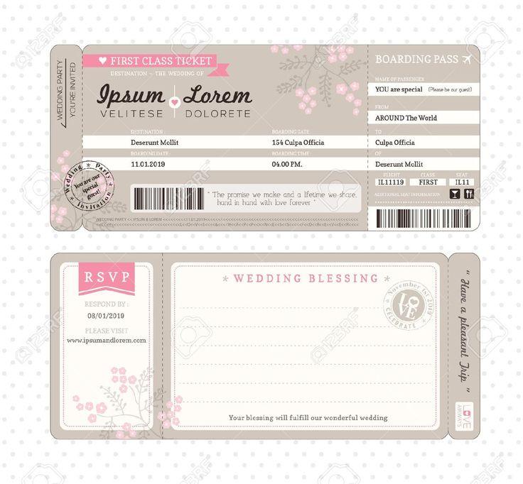 boarding pass sleeve template - boarding pass ticket wedding invitation template royalty