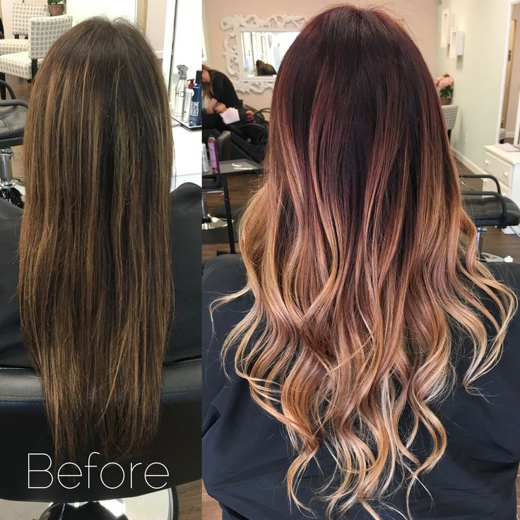 Matrix Color Melt: Base(6RV-10vol) and Balayage (Olaplex & lightnaster- 40vol) at the same time. Melt with matrix sync toner 6RB, 8WN and 10N with 10 vol