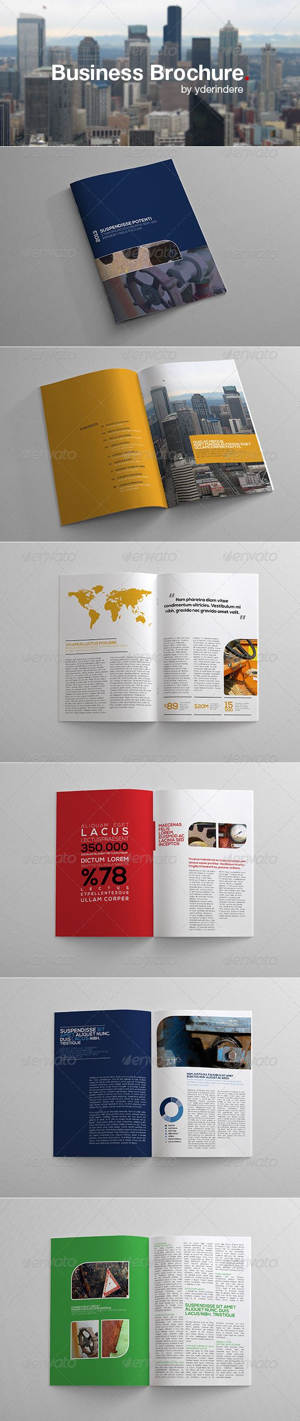 Business Brochure #GraphicRiver Business Brochure Modern brochure template for general purpose. A4 Size 12 Pages 300 DPI & CMYK Easy edit Print Ready Vector map included. All images and fonts are free and download information in help file. Please rate if you like it. Created: 5October12 GraphicsFilesIncluded: VectorEPS #InDesignINDD Layered: Yes MinimumAdobeCSVersion: CS4 PrintDimensions: 210x297 Tags: annual #blue #brochure #business #clean #colorful #company #corporate #editable #elegant