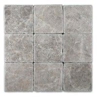 Tundra Gray 4 in.X 4 in.Tumbled  Marble Tile - Tundra Gray 4 in.X 4 in.Tumbled  Marble Tile  Free