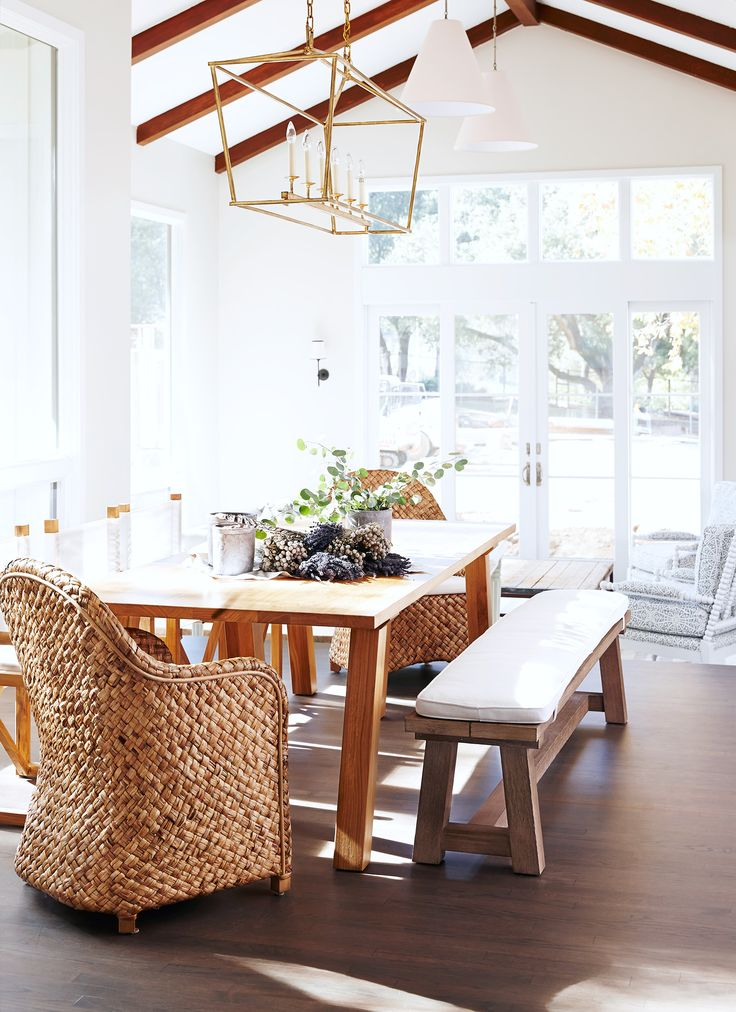 Rustic Dining Space With A Farmhouse Table And Large Gold Lantern RoomsFarmhouse DecorCasual