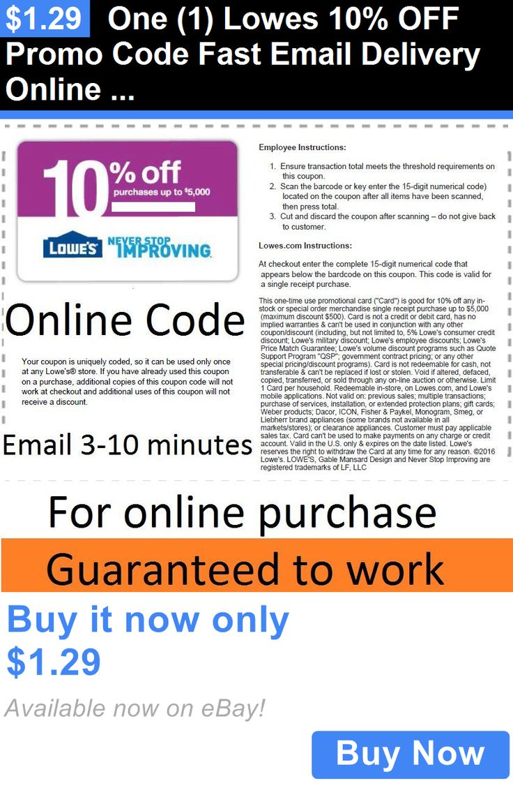 Coupons: One (1) Lowes 10% Off Promo Code Fast Email Delivery Online Use Only BUY IT NOW ONLY: $1.29