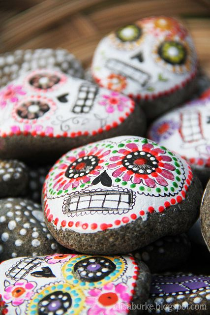 Stone Sugar Skulls. Love these!!!! DIY by Alisa Burke