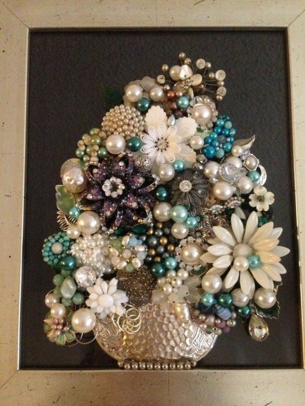 Vintage Jewelry Art Framed Not Christmas Tree Floral ** Think SPRING by frances