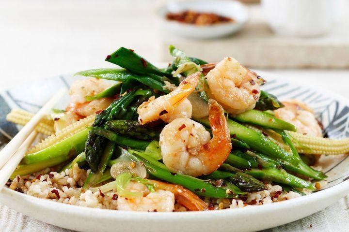 Prawn, asparagus and baby corn stir-fry