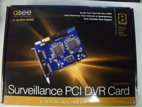 Q-See QSDT8PCRC 8 Channel Software H.264 Real Time Recording PC Based Network DVR PCI Card by Q-See. $126.36. Turn your desktop PC into your own surveillance system with this Q-See PC based security solution. The QSDT8PCRC PCI DVR Card uses software H.264 compression for maximum storage with little loss of quality. This DVR Card stores video directly on your PC hard drive, records real-time video for accurate monitoring, and offers multiple recording options including...