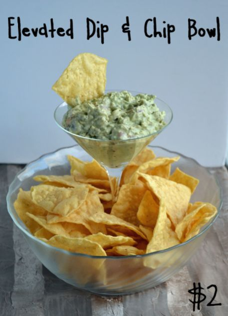A glass bowl and martini glass can be combined to make the ultimate chip and dip bowl.