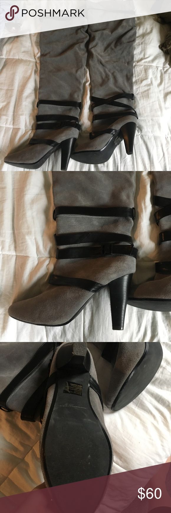 Colin Stuart knee high suede boots Colin Stuart knee high suede boots. Gray suede with black leather straps at bottom and top. Slouchy fit. Only worn a few times! Heels about 3 inches. Make an offer 😊 bundle & save 🤗 Colin Stuart Shoes Heeled Boots