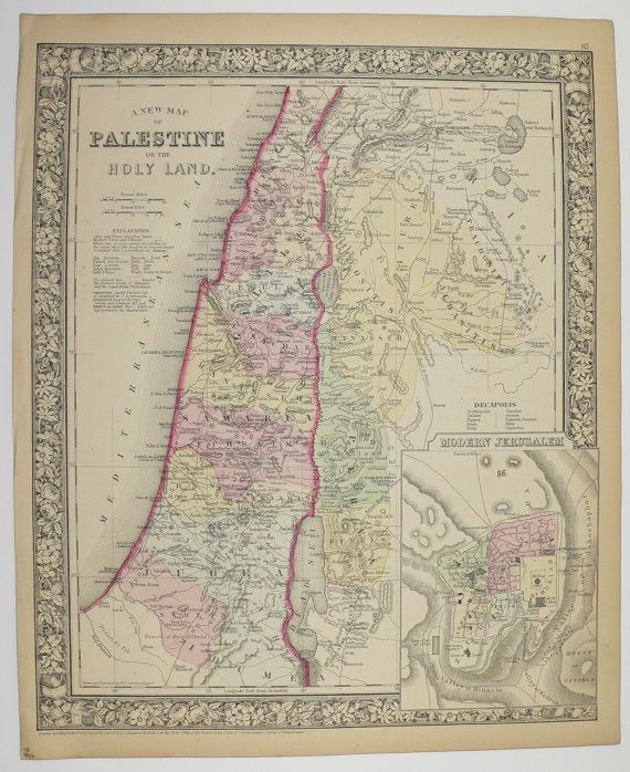 Athentic Old 1866 Antique Map of Palestine Holy Land Old Vintage Mitchell Map Handcolored by OldMapsandPrints