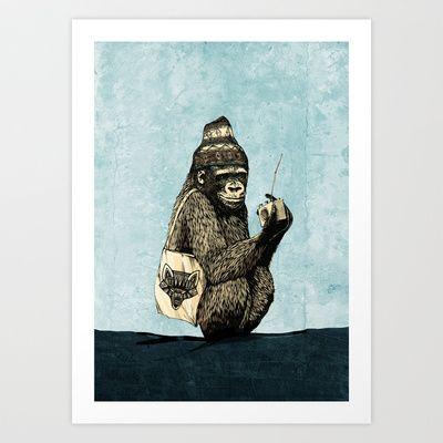 Music Gorilla Art Print by Paka - $20.80