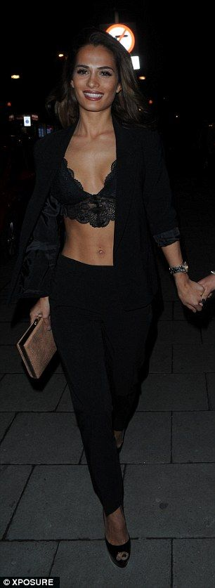 Megan McKenna flashes her bra in extremely sexy tuxedo for night out | Daily Mail Online