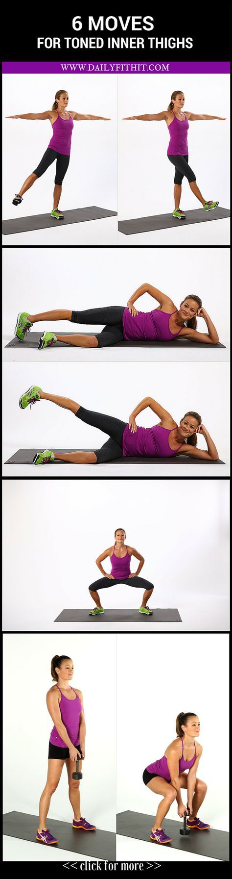 6 Moves for Terrifically Toned Inner Thighs #Workout #Fitness #WeightLoss Image Credits: popsugarfitness