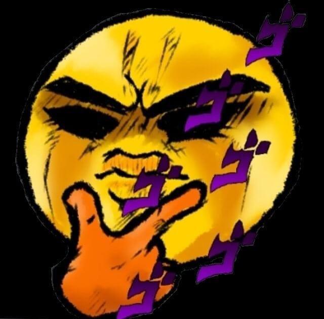 A Menacing Emoji Thinking Face Emoji Jojo S Bizarre Adventure Funny Drawings Jojo Memes