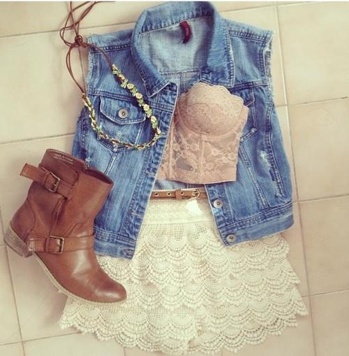 Jean Jacket, Lace Bandeau, Lace Shorts and Boots