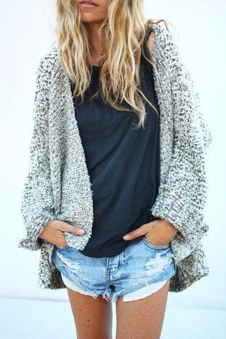 #street #style / gray knit....Not the shorts but I love the slouchy sweater