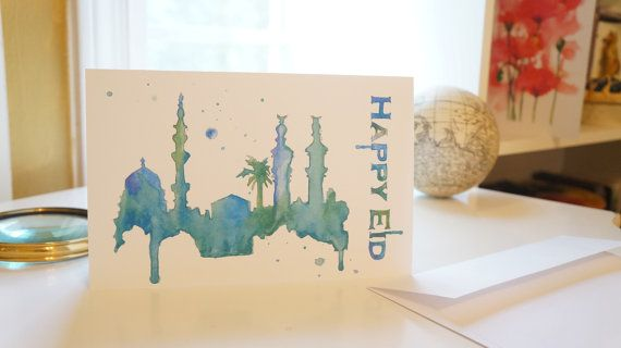 Print of a Happy Eid card with a Saudi skyline watercolor, on heavyweight greeting card paper. Many available. Blank inside for your own custom message. Comes with a matching envelope! A design suited for everyone! ***Talk to me about shipping, especially if you are buying more than 5 cards***