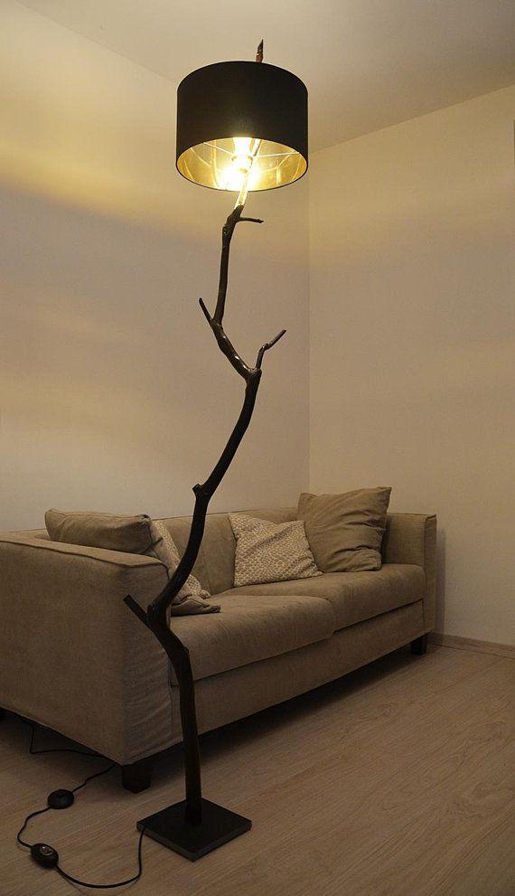 Lampada Da Terra Con Ramo Di Quercia In Legno Riciclato Etsy Lampade Moderne Lampade Luce Della Lampada