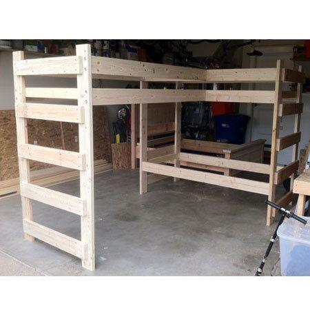 Libras de Size L-Shaped Loft cama maciza madera 1000 doble.