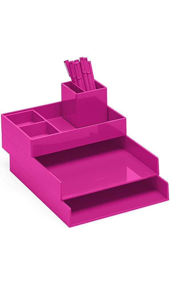 Super Stacked Desk Set, Pink (Letter Trays, Accessory Tray, This + That Tray, Pen Cup, Signature Ballpoint Pens) Best Price