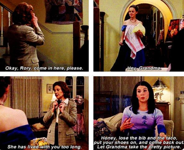 Gilmore Girls. Rory's first dance at Chilton episode. All three Gilmore women together in Stars Hollow.
