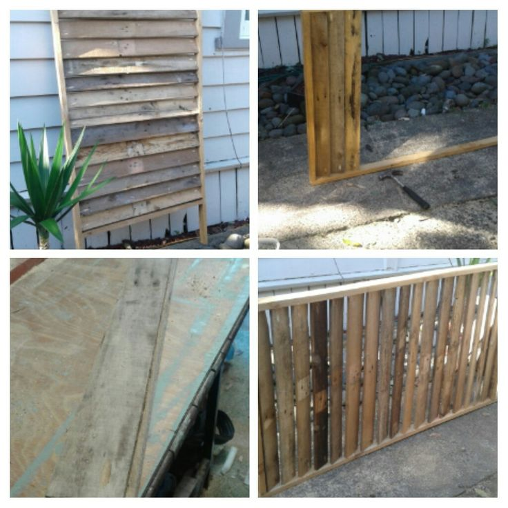 Privacy screen is built out of pallets ready for thorns grotto, two more to attach to make it moveable/swival