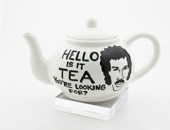 HELLO  Lionel Richie large teapot Hello is it tea by LennyMud