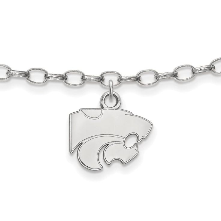 Sterling Silver LogoArt Kansas State University Anklet