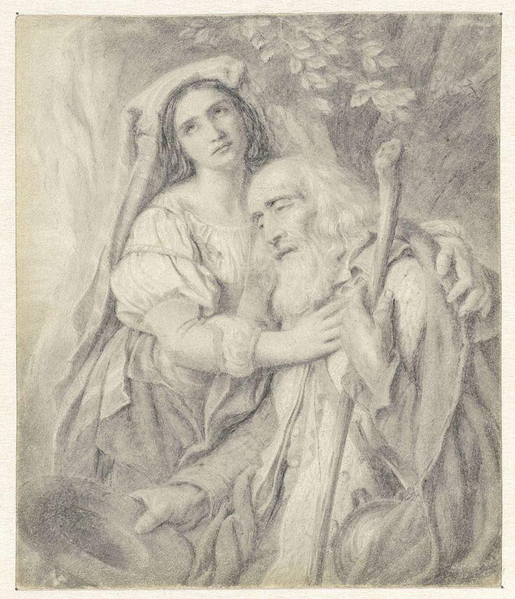Matthijs Maris | Oude bedelaar met dochter, Matthijs Maris, Cornelis Kruseman, 1849 - 1917 |