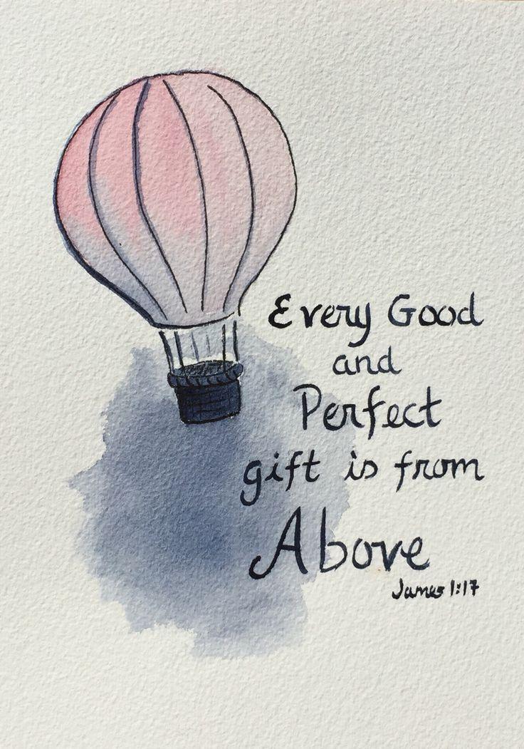 Hot Air Balloon Scripture watercolor. Original art. $28