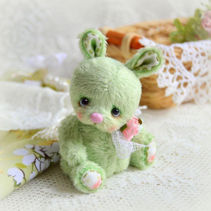 Купить Буба (6 см) - салатовый, светло-зеленый, зайчик тедди, зайчонок, нежность, миниатюра