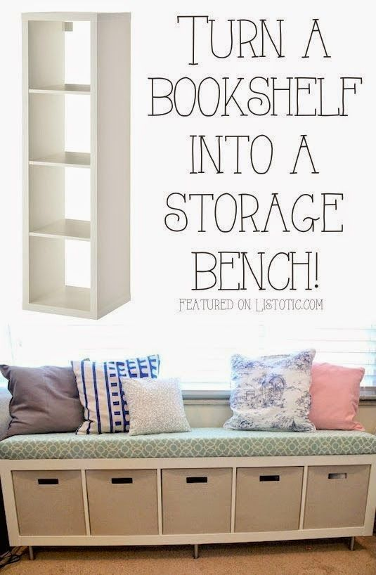 Master bedroom   storage bench for under window Bookshelf Storage Bench   Turning a simple IKEA bookshelf on its side to create a storage bench seat. Best 25  Bedroom organization ideas on Pinterest   Small bedroom
