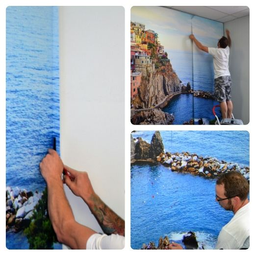 Aligning the panel and removing the bleed for the perfect installation of a wall mural!
