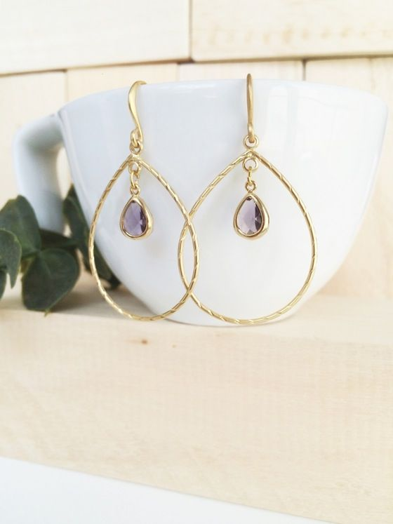 Tudorsh #earrings #jewelry #handmade #ametist #amatista #goldfilled
