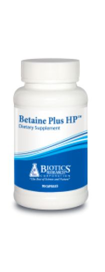 Betaine Plus HP. For chronic indigestion, achlorhydria, chronic hypochlorhydria (gas, bloating, halitosis, body odor, loss of taste for meat), anemia, pregnancy, low mineral values per TMA testing, and bowel dysfunction (constipation or diarrhea)