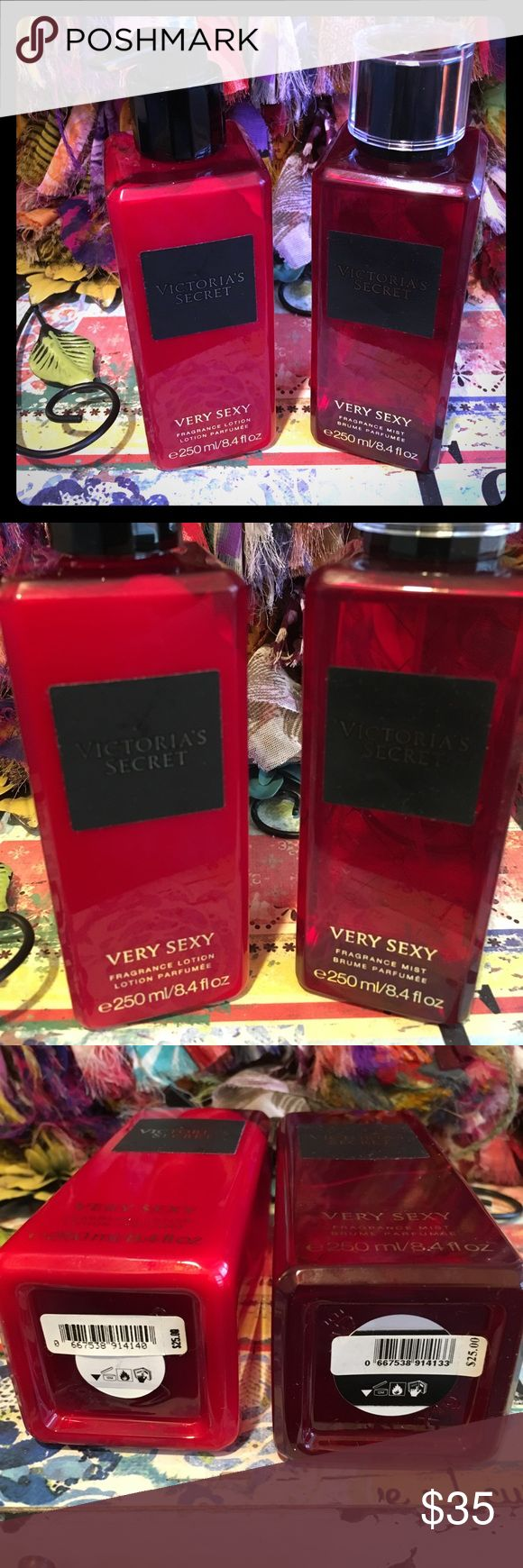 Victoria's Secret very sexy mist & lotion Victoria's Secret Body Mist & matching lotion. Start the ultimate seduction with our sheerest mix of vanilla orchid, sun-drenched clementine and midnight blackberry.  Fragrance type: Warm Notes: Vanilla orchid, sun-drenched clementine and midnight blackberry 250 ml/8.4 fl. oz. Retail price $25 each. Used once to sample. Full as seen in photos. Like new. Victoria's Secret Other